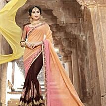 Brown Embroidered Saree with Art Silk Peach Blouse: Apparel Gifts