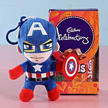 Captain America Rakhi & Cadbury Chocolates: Rakhi Gifts to Thane