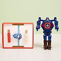 Captain America Transformer Watch & Rakhi Combo: Rakhi to Jalna
