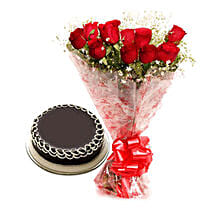 Capturing Heart- Red Roses & Chocolate Cake: Flowers to Satna