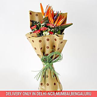 Carnations Orange Bird of Paradise Bouquet: