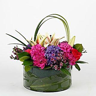 Carnations Roses Premium Vase Arrangement: