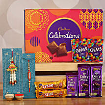 Celebrations Box With Designer Rakhi Set of 2: Bhaiya Bhabhi Rakhi Set