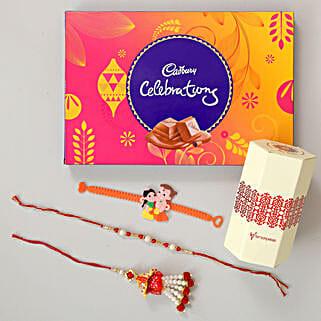 Celebrations Chocolates With Family Rakhi Set: Send Rakhi Best Seller Gifts