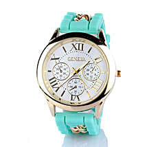 Chained Turquoise Silicone Watch For Women: Watches