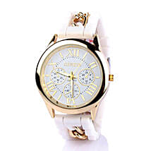 Chained White Silicone Watch For Women: Accessories