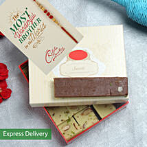 Chocolate Barfi And rakhi hamper: Rakhi With Sweets Rajkot