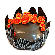 Chocolate Cake With Red Flowers: Send Bhai Dooj Gifts to Jalandhar