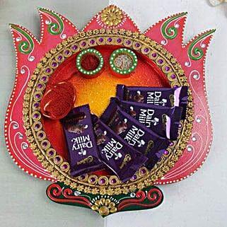 Chocolates In A Wooden Thali: Send Bhai Dooj Gifts to Faridabad