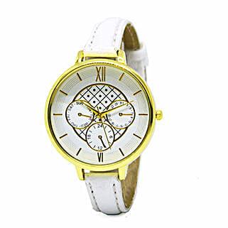Chrono Print White Watch For Women: Buy Watches