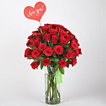 Classic Red Roses in Glass Vase: Valentines Day Gifts for Wife