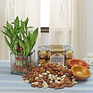 Classy Diwali Hamper: Plants N Diyas