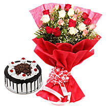 Colorful Roses n Cake: Send Flowers & Cakes to Noida