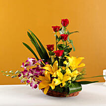 Colourful Blooms Basket Arrangement: Mothers Day Flowers to Lucknow
