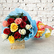 Colourful Mixed Roses Bouquet: Kiss Day Flowers