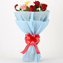 Colourful Mixed Roses Bouquet: Anniversary Flowers for Husband