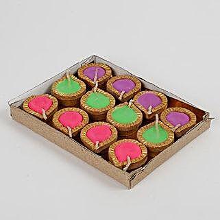 Colourful Wax Terracotta Diya Set 12 Pcs: Send Diwali Gifts to Delhi
