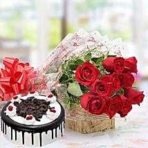 Combo of Red Roses And Black Forest Cake: Best Selling Gifts for Birthday