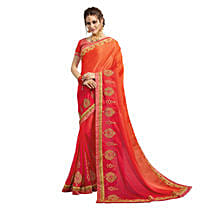 Coral Pink & Orange Georgette Saree: