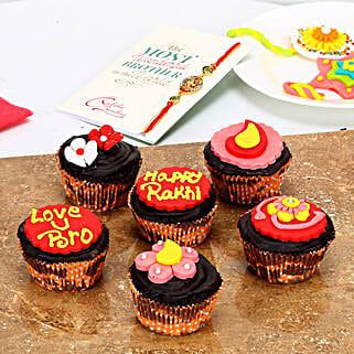 Cute Cupcakes For Rakhi: Rakhi with Cakes