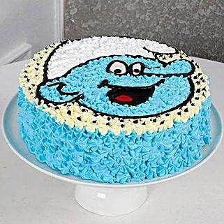 Cute Smurf Cream Cake: Cakes for 1st Birthday