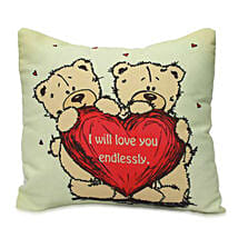 Cute Teddy With Message Cushion: Birthday Cushions