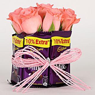 Dairy Milk & Pink Roses Arrangement: Buy Chocolates for Her