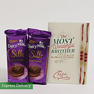 Dairy Milk Silk & Rakhi Combo For Bro: Send Set of 2 Rakhi