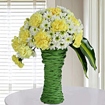 Daisies N Carnations Arrangement: Send Flowers to Chandigarh
