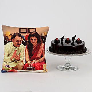 Delish Truffle Cake & Picture Cushion Combo: