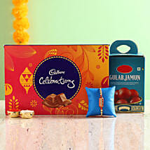Designer Rakhi With Gulab Jamun & Chocolate Box: Rakhi Same Day Delivery in India