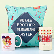 Designer Rakhi With Mug & Cushion For Bro: Rakhi Gifts to Gurgaon