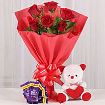 Rosy Love Affair- Teddy Bear & Chocolates: Send Flowers & Teddy Bears for Friendship Day