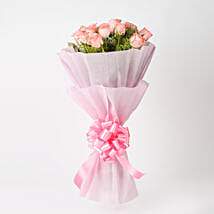 Elegance - Pink Roses Bouquet: Birthday Flowers Mumbai