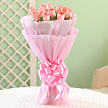Elegance - Pink Roses Bouquet: Send Flower Bouquets to Bengaluru