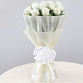 Elegant Pristine White Roses Bouquet: