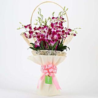 Elegant Purple Orchids Bouquet: Gifts for Aquarians