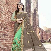 Embroidered Green Saree: Apparel Gifts