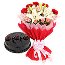 Enchanted Bloom: Flower Bouquet with Cake