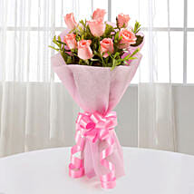 Endearing Pink Roses Bouquet: Send Valentine Flowers to Faizabad