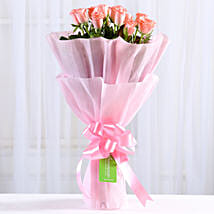 Endearing Pink Roses Bouquet: Valentine Flowers for Him