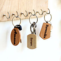 Engraved Wooden Key Chains Personalised Set of 3: