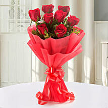 Enigmatic Red Roses Bouquet: Karwa Chauth Flowers