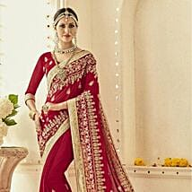Ethnic Red Embroidered Saree: Apparel Gifts
