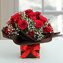Exotic Red Roses Arrangement: Karwa Chauth Flowers