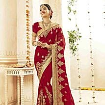 Floral Embroidered Saree in Sensual Red: Apparel Gifts