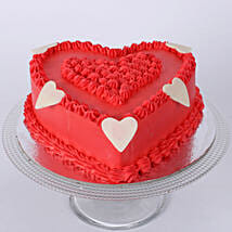 Floral Red Heart Cake: Cakes for Girlfriend