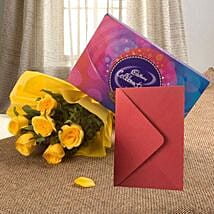 Flower Hamper N Greeting Card: Flowers & Chocolates for Husband