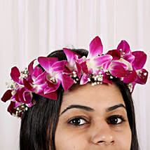 Fresh Orchid Floral Tiara:
