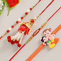 Funky & Colorful Set of 4 Rakhis: Send Rakhi for Bhaiya Bhabhi